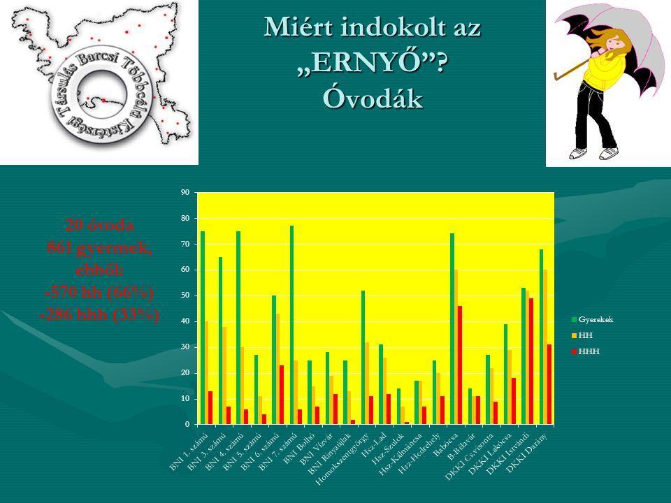 """Miért indokolt az """"ERNYŐ Óvodák 20 óvoda 861 gyermek, ebből: -570 hh (66%) -286 hhh (33%)"""