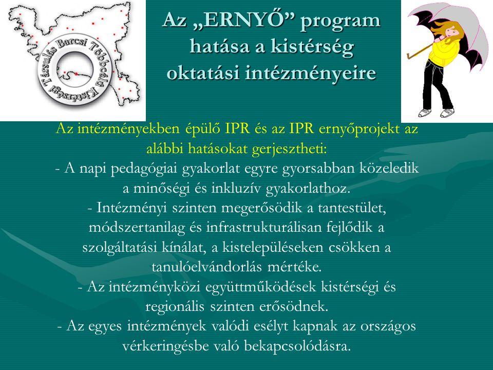 """Az """"ERNYŐ program hatása a kistérség oktatási intézményeire Az intézményekben épülő IPR és az IPR ernyőprojekt az alábbi hatásokat gerjesztheti: - A napi pedagógiai gyakorlat egyre gyorsabban közeledik a minőségi és inkluzív gyakorlathoz."""