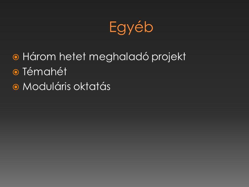  Három hetet meghaladó projekt  Témahét  Moduláris oktatás