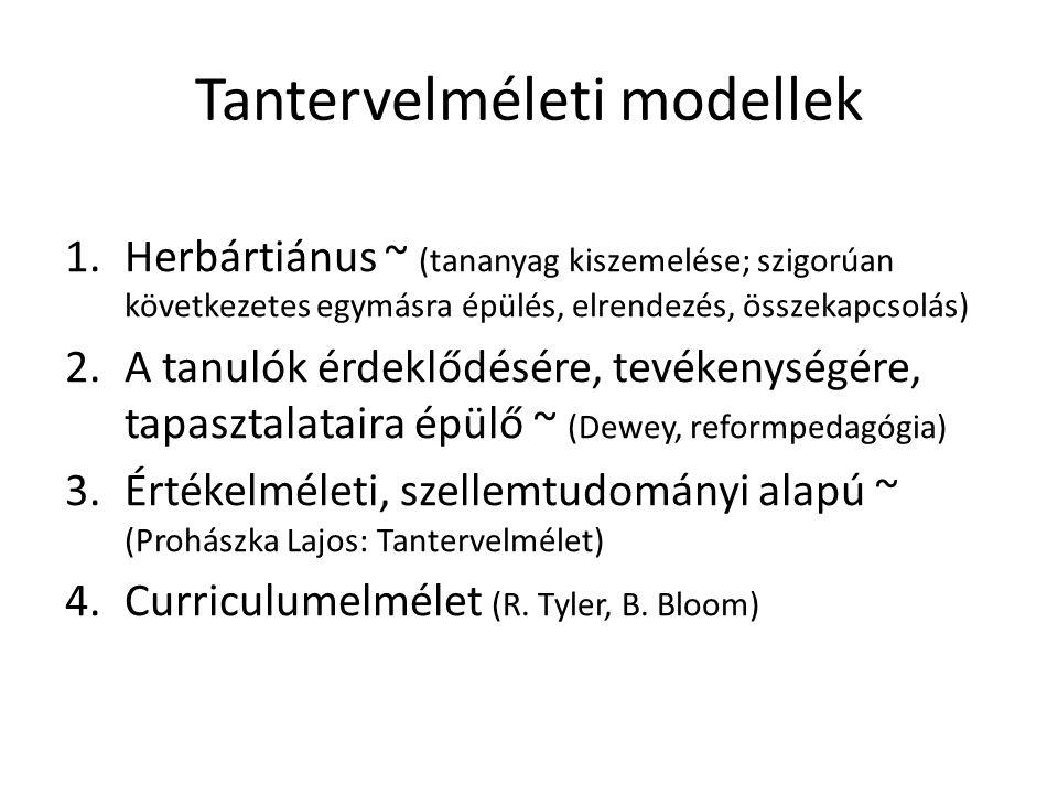 Tantervelméleti modellek 1.Herbártiánus ~ (tananyag kiszemelése; szigorúan következetes egymásra épülés, elrendezés, összekapcsolás) 2.A tanulók érdek