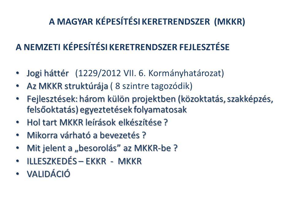 A NEMZETI KÉPESÍTÉSI KERETRENDSZER FEJLESZTÉSE Jogi háttér Jogi háttér (1229/2012 VII.