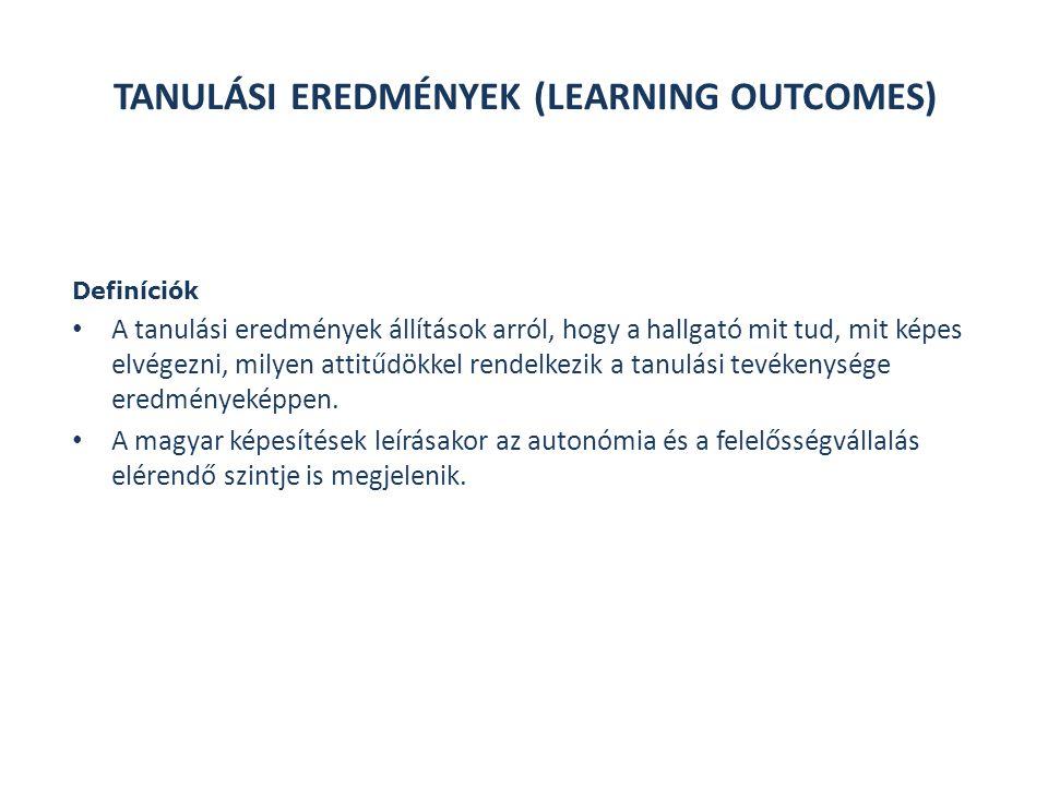 Definíciók A tanulási eredmények állítások arról, hogy a hallgató mit tud, mit képes elvégezni, milyen attitűdökkel rendelkezik a tanulási tevékenysége eredményeképpen.