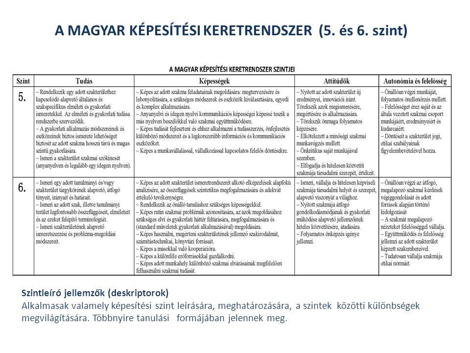 A MAGYAR KÉPESÍTÉSI KERETRENDSZER (5.és 6.