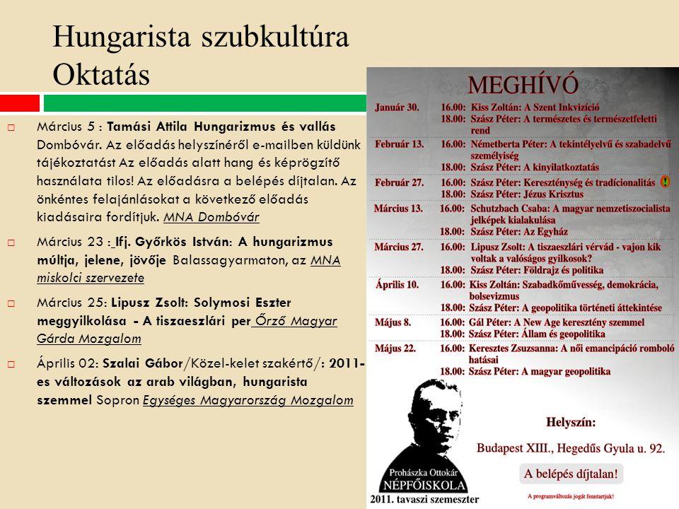 Hungarista szubkultúra Oktatás  Március 5 : Tamási Attila Hungarizmus és vallás Dombóvár.