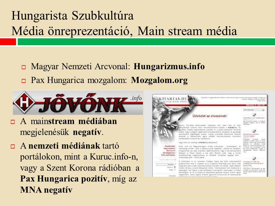 Hungarista Szubkultúra Média önreprezentáció, Main stream média  Magyar Nemzeti Arcvonal: Hungarizmus.info  Pax Hungarica mozgalom: Mozgalom.org  A mainstream médiában megjelenésük negatív.