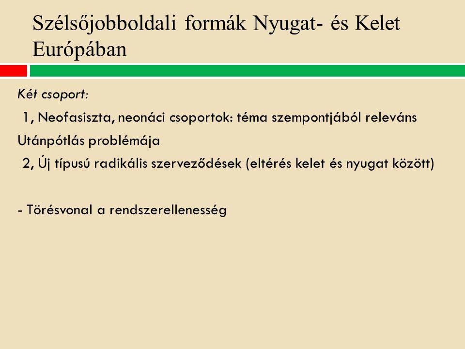 Szélsőjobboldali formák Nyugat- és Kelet Európában Két csoport: 1, Neofasiszta, neonáci csoportok: téma szempontjából releváns Utánpótlás problémája 2, Új típusú radikális szerveződések (eltérés kelet és nyugat között) - Törésvonal a rendszerellenesség