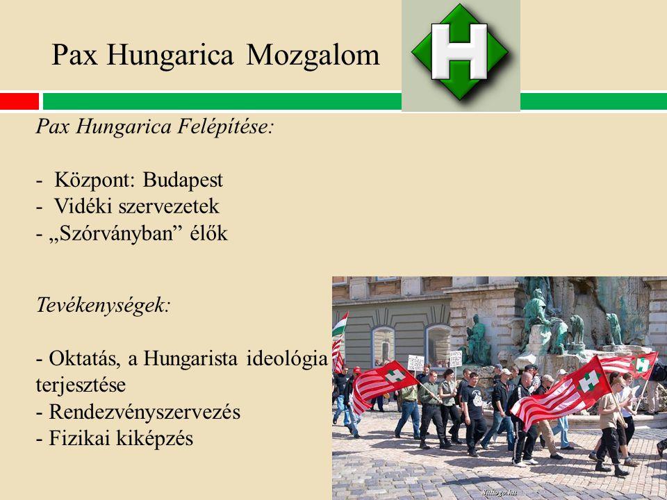 """Pax Hungarica Mozgalom Tevékenységek: - Oktatás, a Hungarista ideológia terjesztése - Rendezvényszervezés - Fizikai kiképzés Pax Hungarica Felépítése: - Központ: Budapest - Vidéki szervezetek - """"Szórványban élők"""