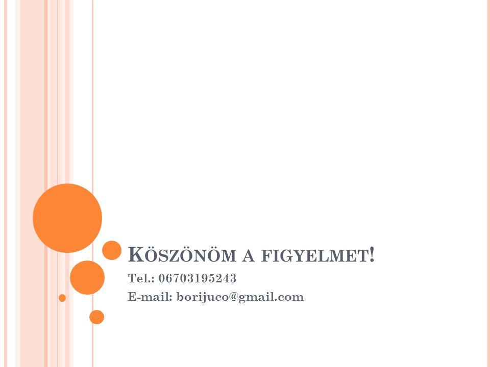 K ÖSZÖNÖM A FIGYELMET ! Tel.: 06703195243 E-mail: borijuco@gmail.com
