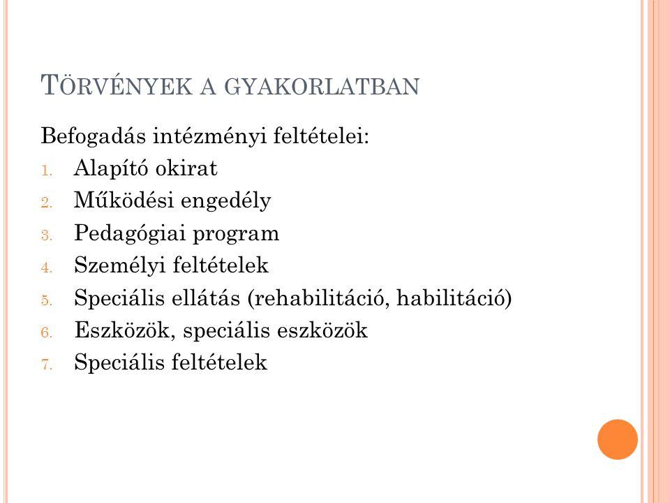 T ÖRVÉNYEK A GYAKORLATBAN Befogadás intézményi feltételei: 1. Alapító okirat 2. Működési engedély 3. Pedagógiai program 4. Személyi feltételek 5. Spec