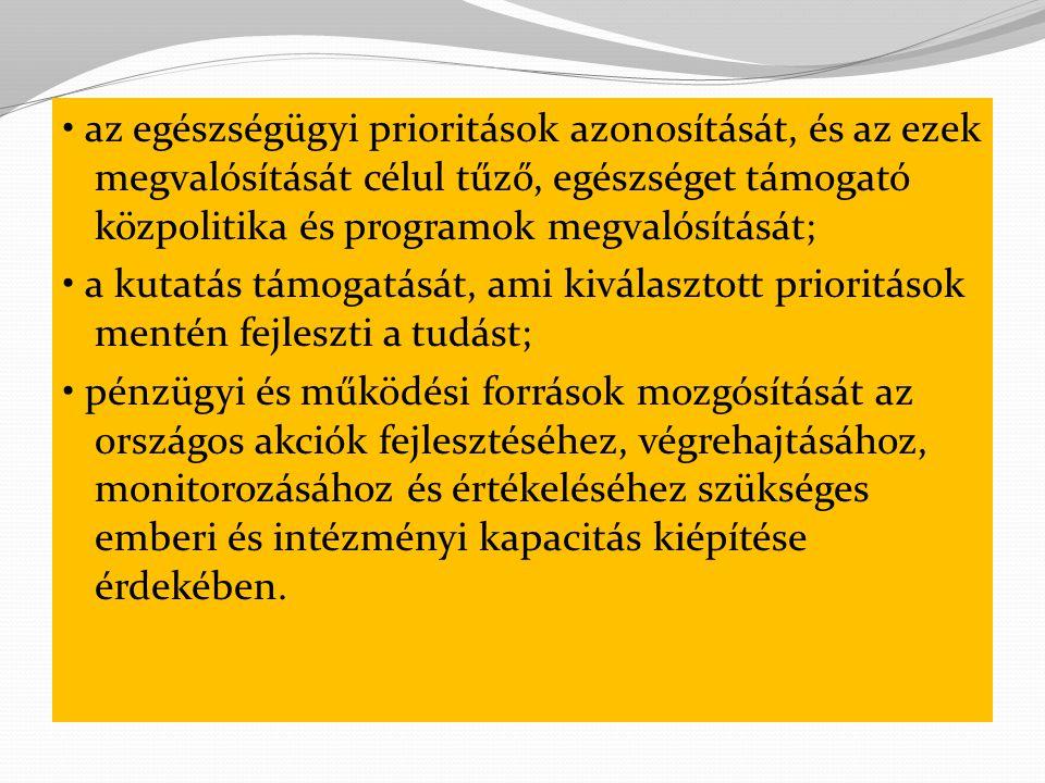 az egészségügyi prioritások azonosítását, és az ezek megvalósítását célul tűző, egészséget támogató közpolitika és programok megvalósítását; a kutatás támogatását, ami kiválasztott prioritások mentén fejleszti a tudást; pénzügyi és működési források mozgósítását az országos akciók fejlesztéséhez, végrehajtásához, monitorozásához és értékeléséhez szükséges emberi és intézményi kapacitás kiépítése érdekében.