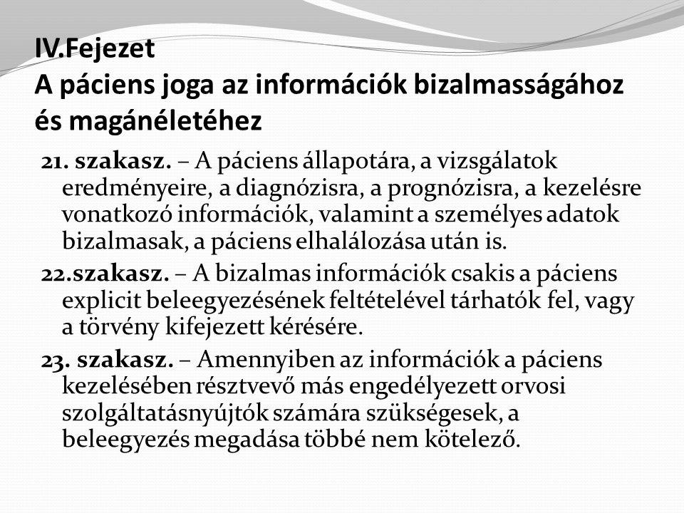 IV.Fejezet A páciens joga az információk bizalmasságához és magánéletéhez 21.