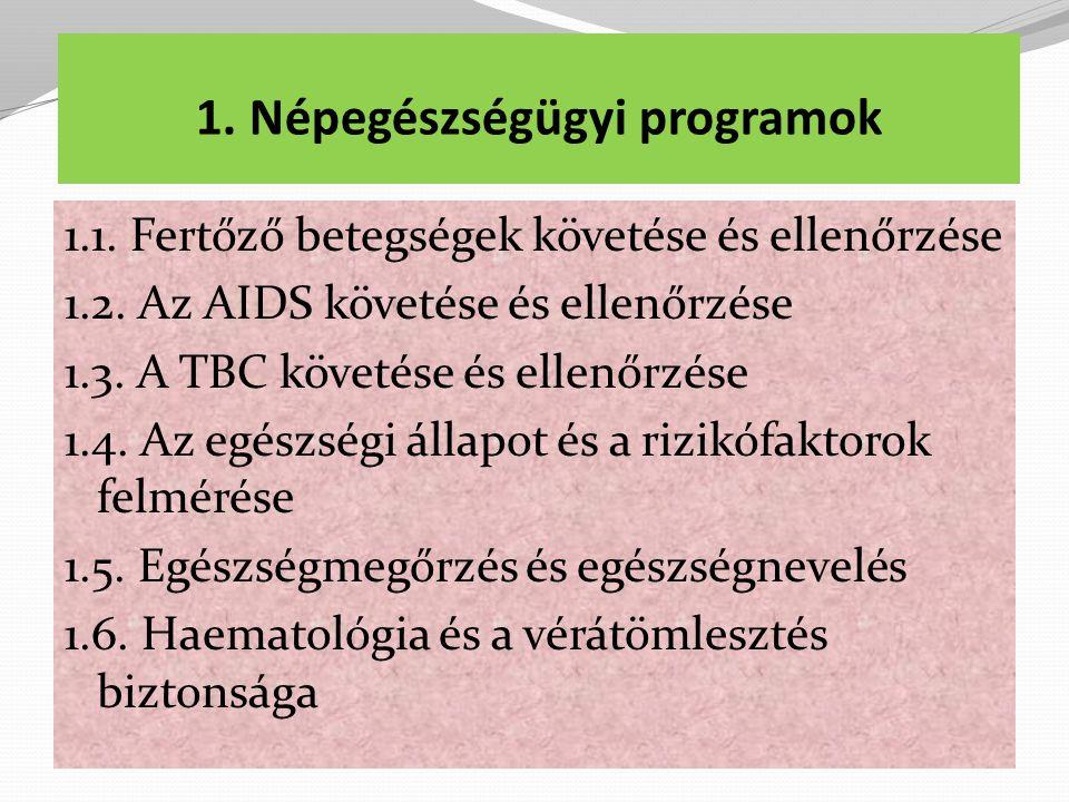 1.Népegészségügyi programok 1.1. Fertőző betegségek követése és ellenőrzése 1.2.