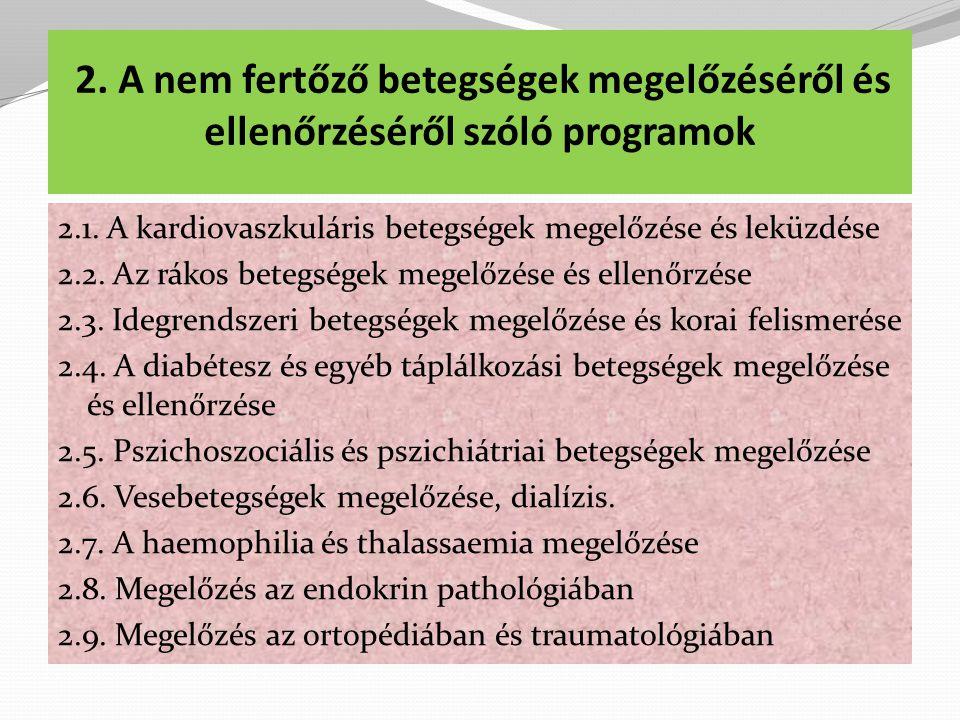2.A nem fertőző betegségek megelőzéséről és ellenőrzéséről szóló programok 2.1.