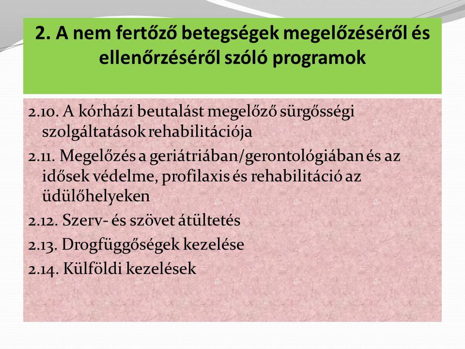2.A nem fertőző betegségek megelőzéséről és ellenőrzéséről szóló programok 2.10.