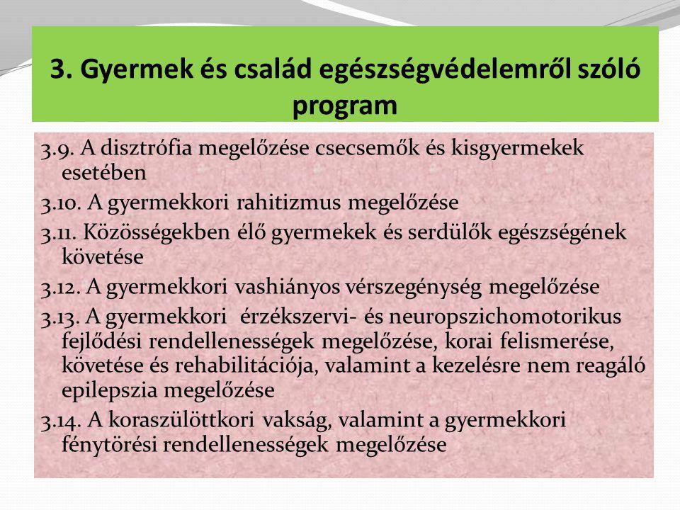 3.Gyermek és család egészségvédelemről szóló program 3.9.