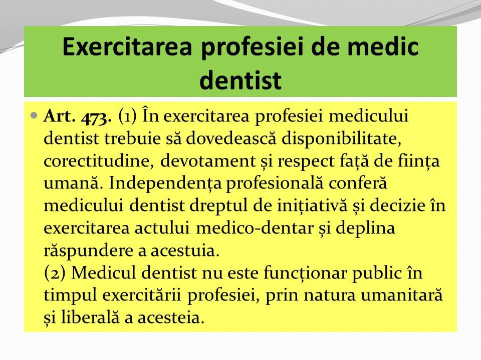 Exercitarea profesiei de medic dentist Art.473.