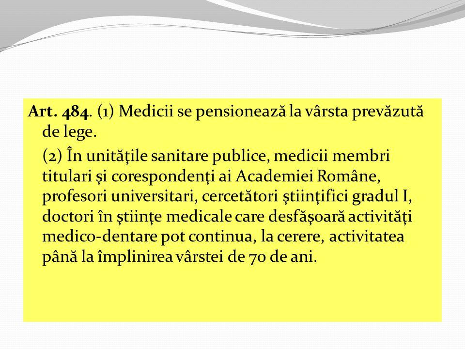 Art.484. (1) Medicii se pensioneaz ă la vârsta prev ă zut ă de lege.