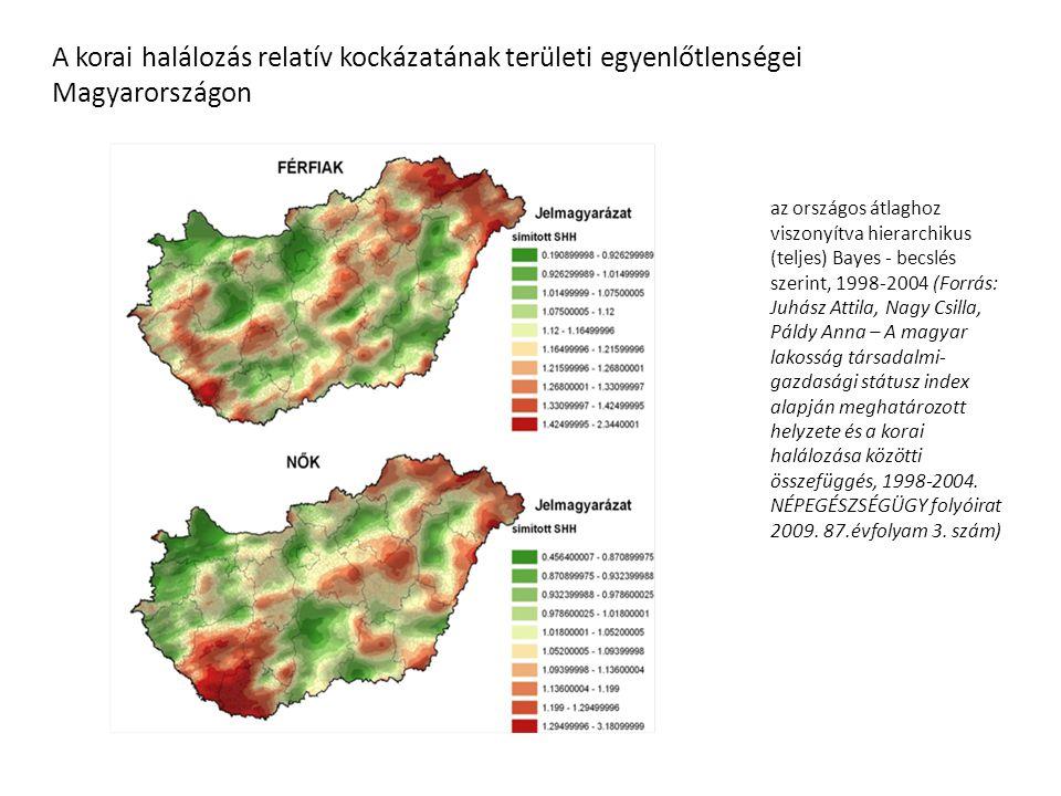 az országos átlaghoz viszonyítva hierarchikus (teljes) Bayes - becslés szerint, 1998-2004 (Forrás: Juhász Attila, Nagy Csilla, Páldy Anna – A magyar l