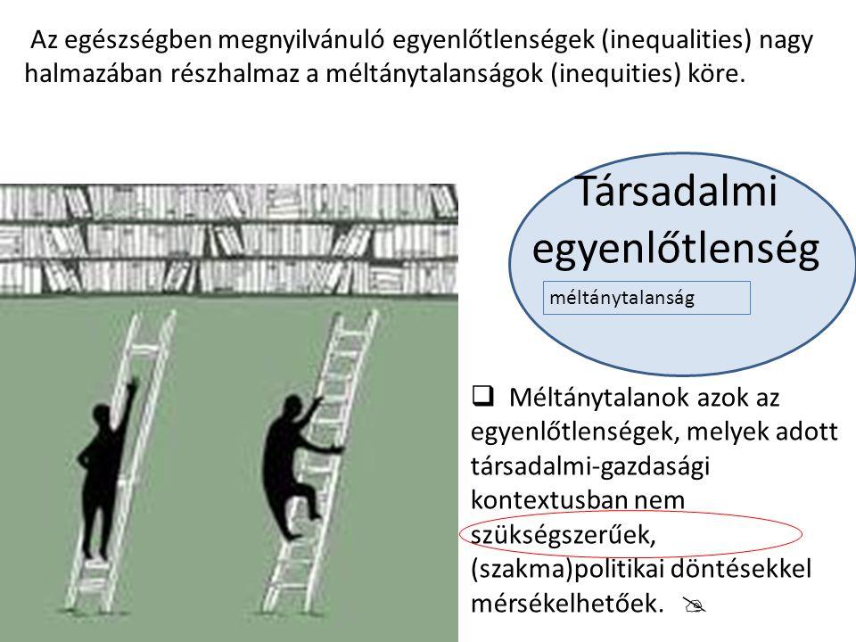 Társadalmi egyenlőtlenség Az egészségben megnyilvánuló egyenlőtlenségek (inequalities) nagy halmazában részhalmaz a méltánytalanságok (inequities) kör