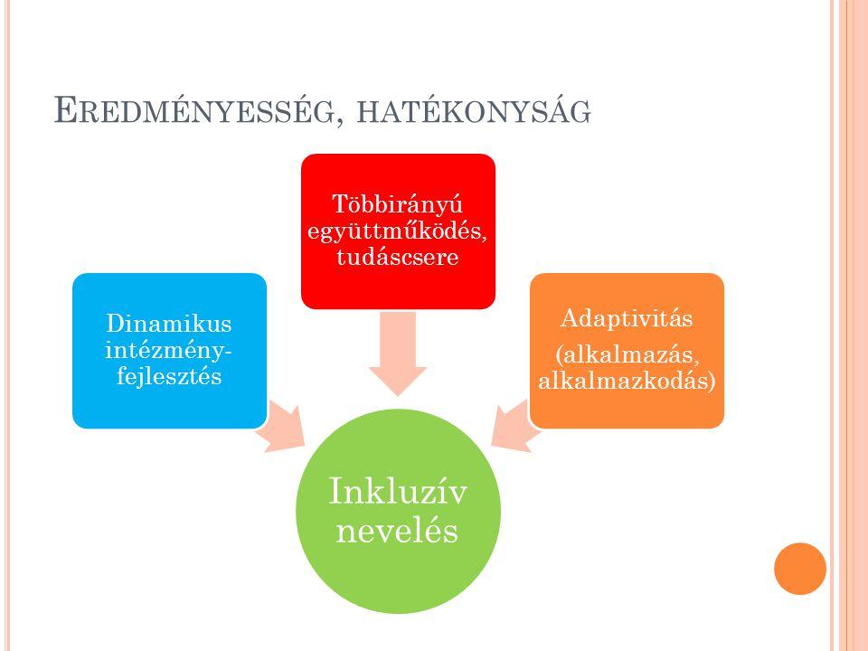 E REDMÉNYESSÉG, HATÉKONYSÁG Inkluzív nevelés Dinamikus intézmény- fejlesztés Többirányú együttműködés, tudáscsere Adaptivitás (alkalmazás, alkalmazkod