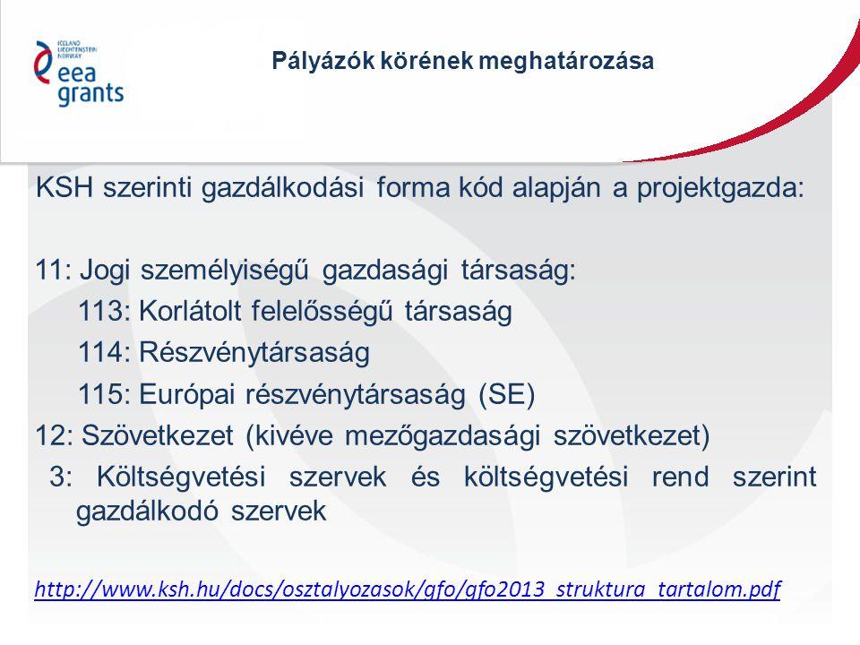 Pályázók körének meghatározása KSH szerinti gazdálkodási forma kód alapján a projektgazda: 11: Jogi személyiségű gazdasági társaság: 113: Korlátolt felelősségű társaság 114: Részvénytársaság 115: Európai részvénytársaság (SE) 12: Szövetkezet (kivéve mezőgazdasági szövetkezet) 3: Költségvetési szervek és költségvetési rend szerint gazdálkodó szervek http://www.ksh.hu/docs/osztalyozasok/gfo/gfo2013_struktura_tartalom.pdf