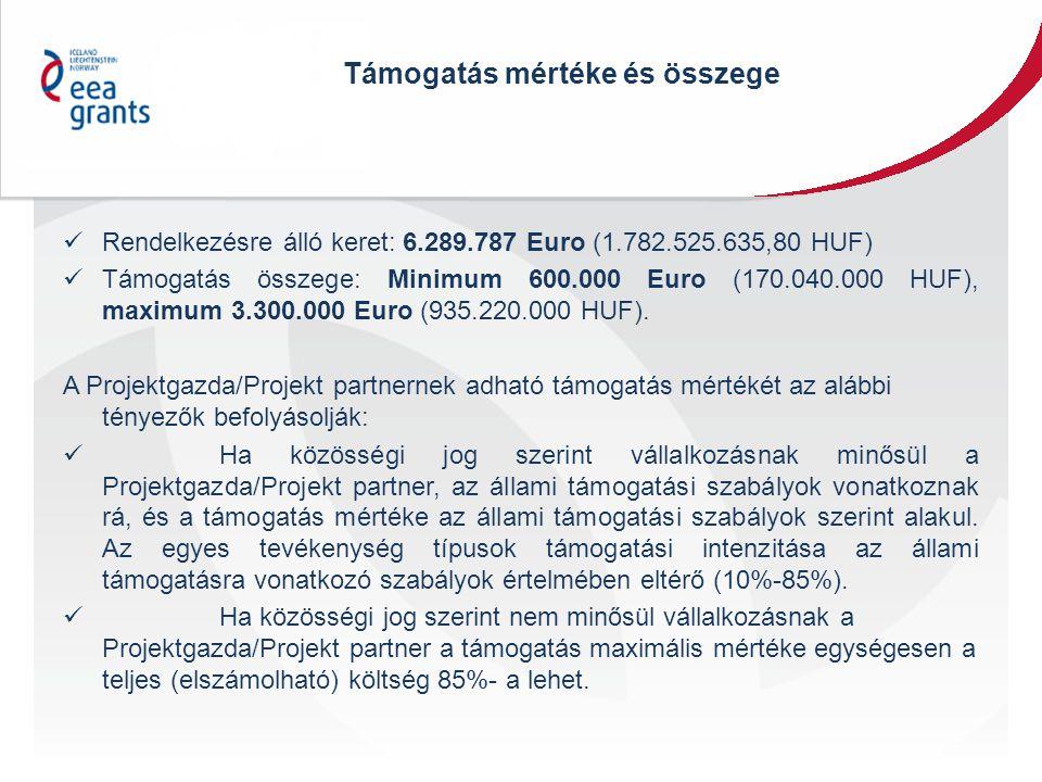 Támogatás mértéke és összege Rendelkezésre álló keret: 6.289.787 Euro (1.782.525.635,80 HUF) Támogatás összege: Minimum 600.000 Euro (170.040.000 HUF), maximum 3.300.000 Euro (935.220.000 HUF).