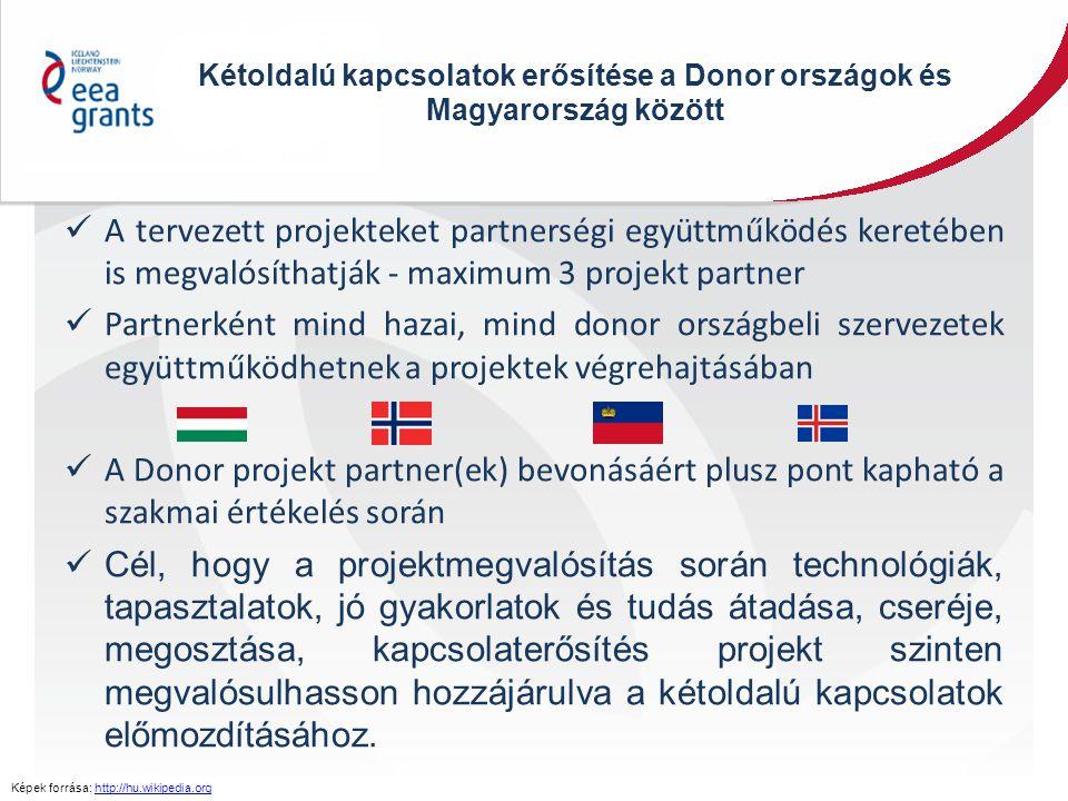 Kétoldalú kapcsolatok erősítése a Donor országok és Magyarország között A tervezett projekteket partnerségi együttműködés keretében is megvalósíthatjá