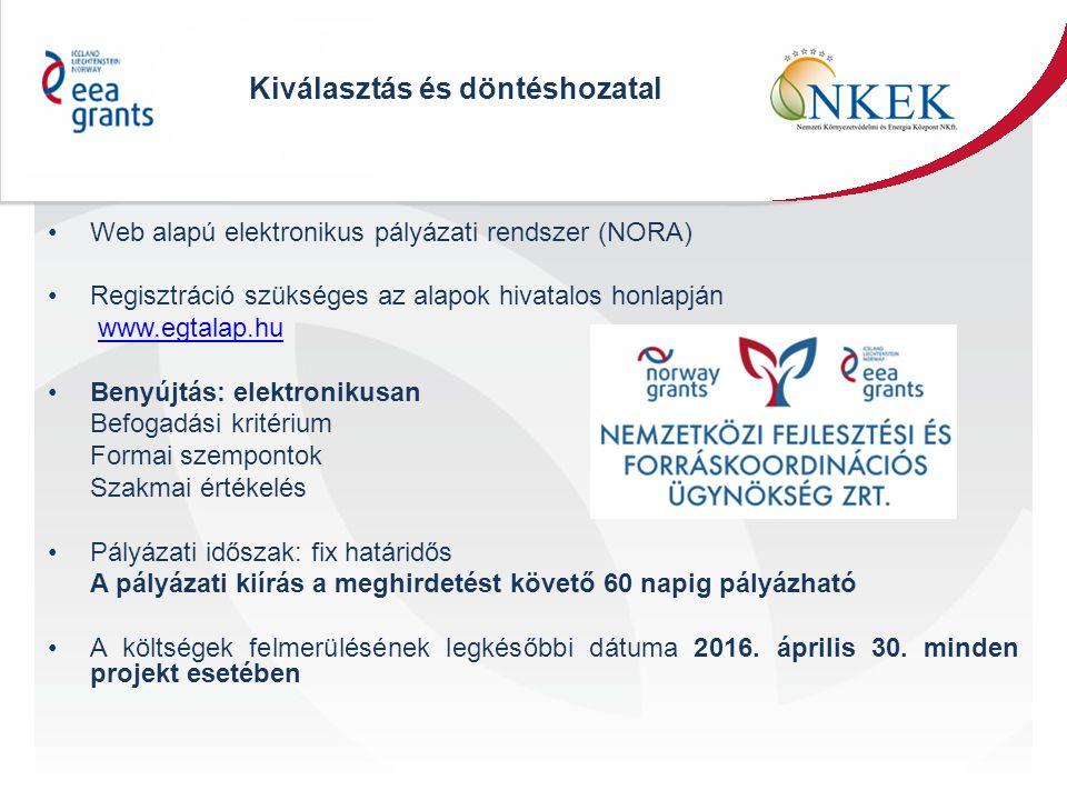 Kiválasztás és döntéshozatal Web alapú elektronikus pályázati rendszer (NORA) Regisztráció szükséges az alapok hivatalos honlapján www.egtalap.hu Beny