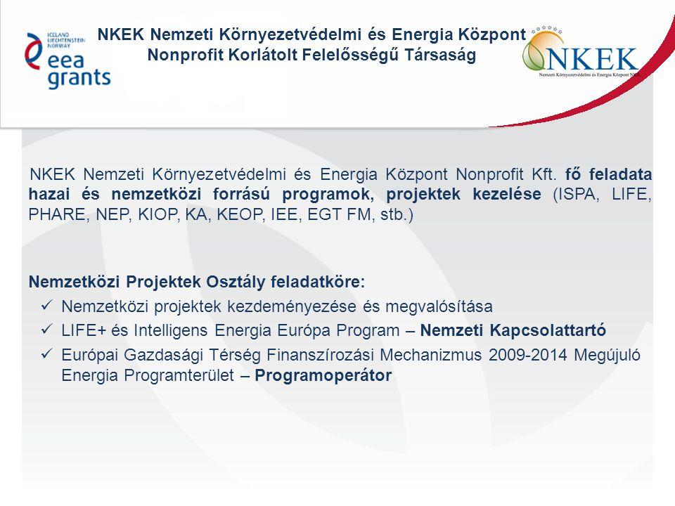 2) Megújuló energiaforrások hasznosításával kapcsolatos figyelemfelhívás A pályázati felhívás célja a tudatos fogyasztói szemlélet növelése a megújuló energiaforrások alkalmazása területén Projektek Szemléletformáló tevékenység a Magyar lakosság körében Tájékoztatási, tudatosság fokozását szolgáló, több eseményből álló programok megvalósítása (6 hónap-2 év) Innovatív kommunikációs szemlélet Képzési komponensek, akciók