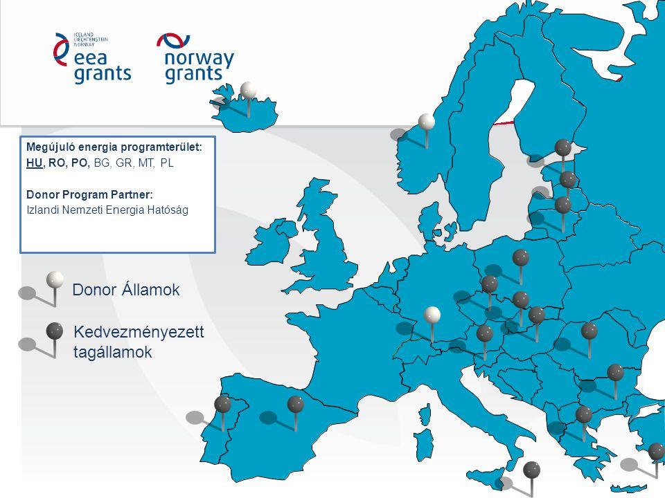 Megújuló energia programterület: HU, RO, PO, BG, GR, MT, PL Donor Program Partner: Izlandi Nemzeti Energia Hatóság Donor Államok Kedvezményezett tagál