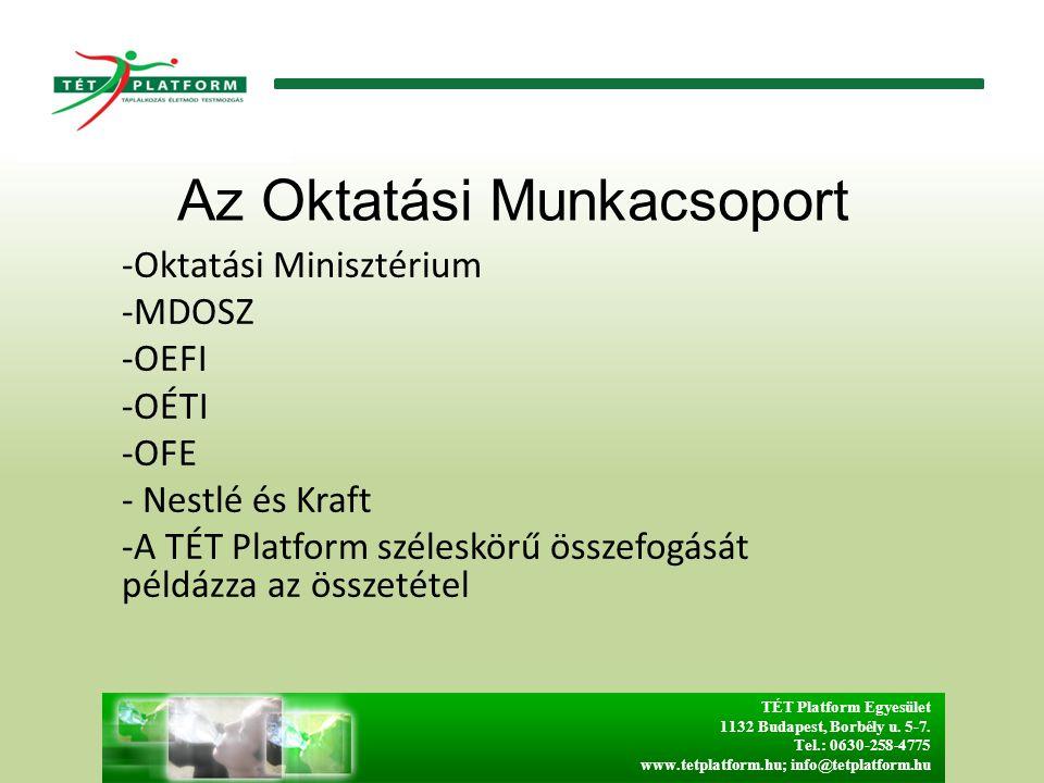 Az Oktatási Munkacsoport -Oktatási Minisztérium -MDOSZ -OEFI -OÉTI -OFE - Nestlé és Kraft -A TÉT Platform széleskörű összefogását példázza az összetétel TÉT Platform Egyesület 1132 Budapest, Borbély u.