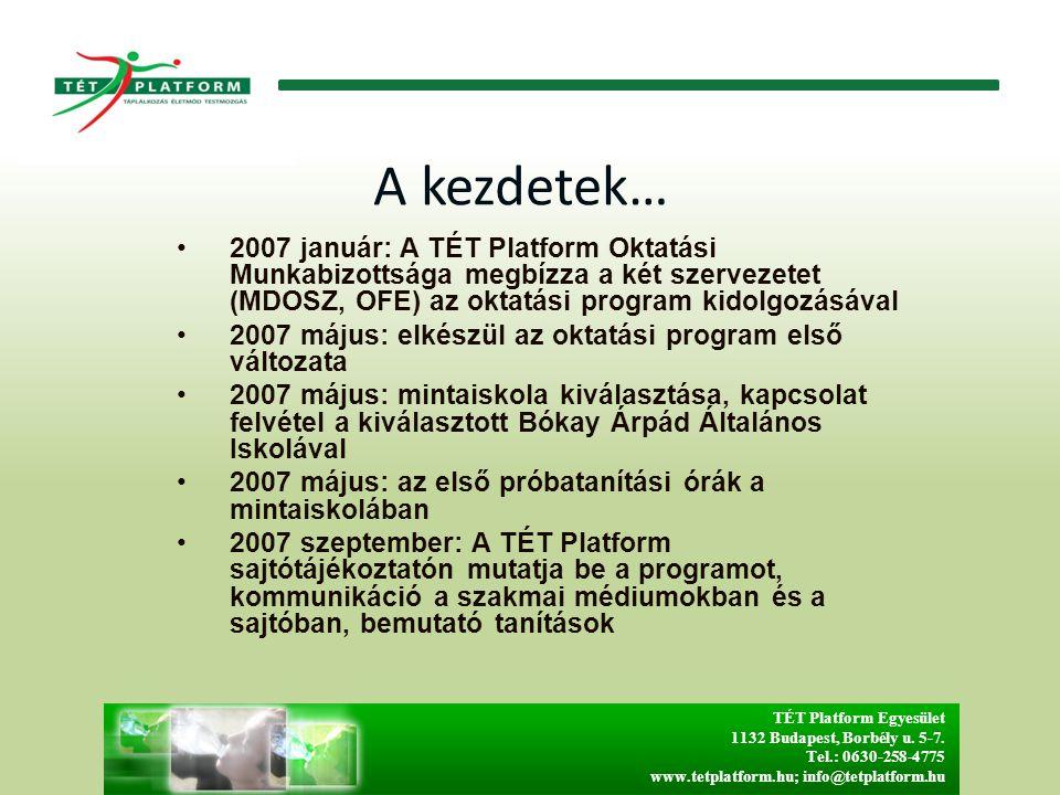 A kezdetek… 2007 január: A TÉT Platform Oktatási Munkabizottsága megbízza a két szervezetet (MDOSZ, OFE) az oktatási program kidolgozásával 2007 május: elkészül az oktatási program első változata 2007 május: mintaiskola kiválasztása, kapcsolat felvétel a kiválasztott Bókay Árpád Általános Iskolával 2007 május: az első próbatanítási órák a mintaiskolában 2007 szeptember: A TÉT Platform sajtótájékoztatón mutatja be a programot, kommunikáció a szakmai médiumokban és a sajtóban, bemutató tanítások TÉT Platform Egyesület 1132 Budapest, Borbély u.