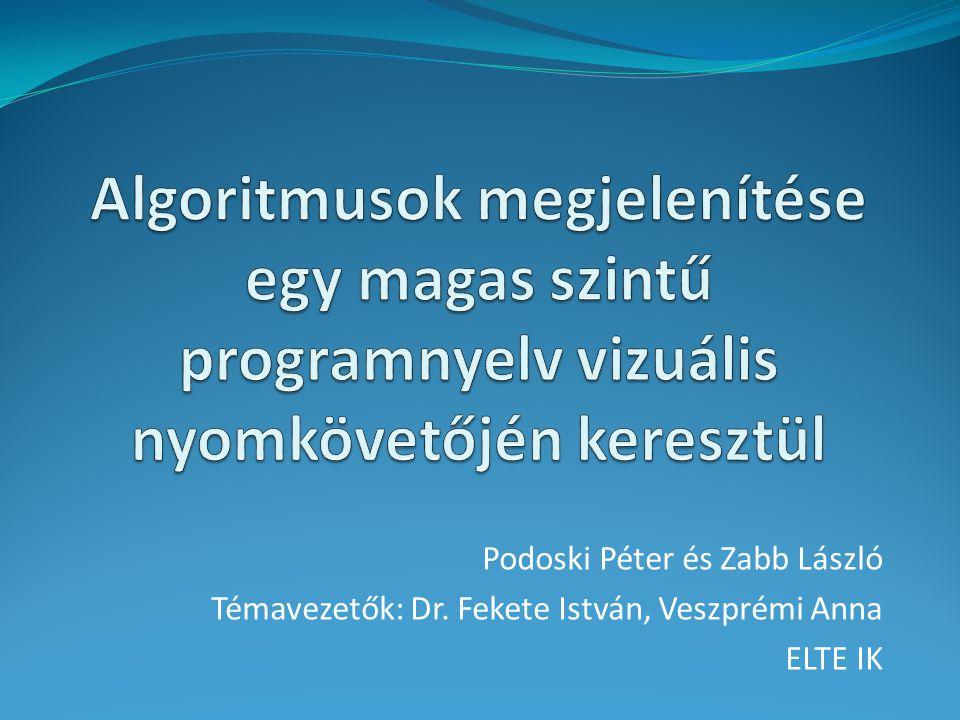 Podoski Péter és Zabb László Témavezetők: Dr. Fekete István, Veszprémi Anna ELTE IK