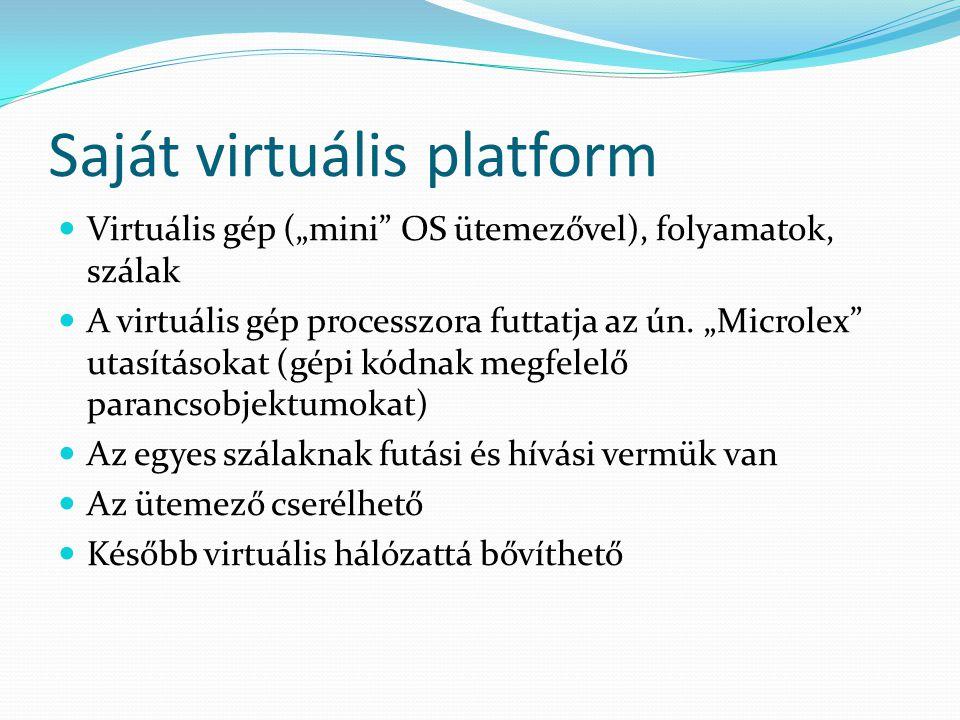 """Saját virtuális platform Virtuális gép (""""mini OS ütemezővel), folyamatok, szálak A virtuális gép processzora futtatja az ún."""