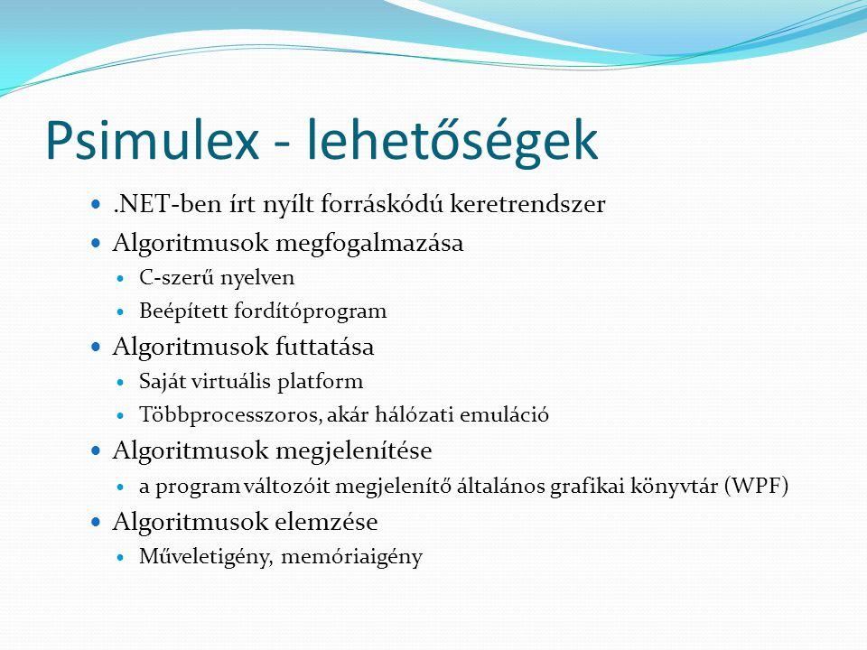 Psimulex - lehetőségek.NET-ben írt nyílt forráskódú keretrendszer Algoritmusok megfogalmazása C-szerű nyelven Beépített fordítóprogram Algoritmusok futtatása Saját virtuális platform Többprocesszoros, akár hálózati emuláció Algoritmusok megjelenítése a program változóit megjelenítő általános grafikai könyvtár (WPF) Algoritmusok elemzése Műveletigény, memóriaigény
