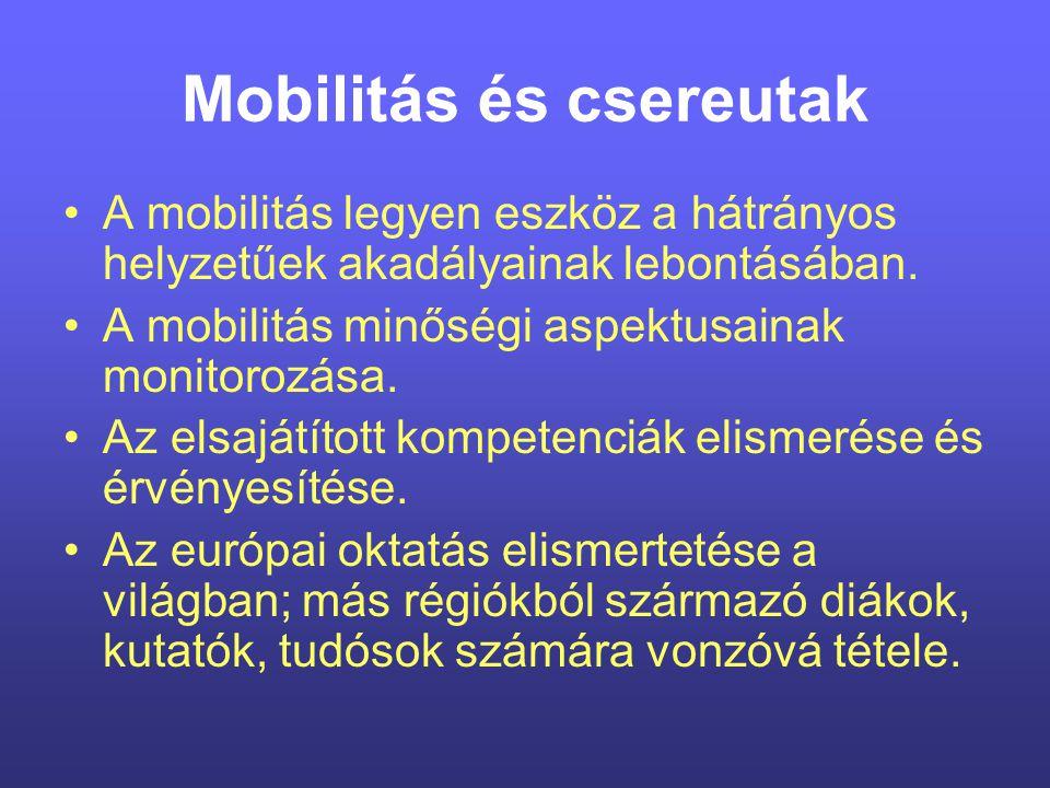 Mobilitás és csereutak A mobilitás legyen eszköz a hátrányos helyzetűek akadályainak lebontásában.
