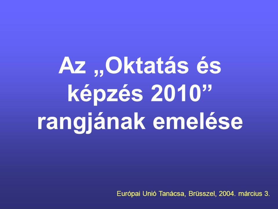 """Az """"Oktatás és képzés 2010 rangjának emelése Európai Unió Tanácsa, Brüsszel, 2004. március 3."""