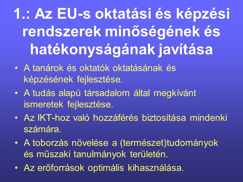 Cselekvésre van szükség, miközben fogy az idő Előrelépés az európai együttműködés terén A munkaprogram megvalósítása érdekében tett első lépések A felsőoktatás központi szerepe a tudás Európájában Fokozni kell a mobilitást az oktatás és a képzés területén Az Európai Uniónak fel kell zárkóznia fő vetélytársaihoz Európai Unió Tanácsa, Brüsszel, 2004.