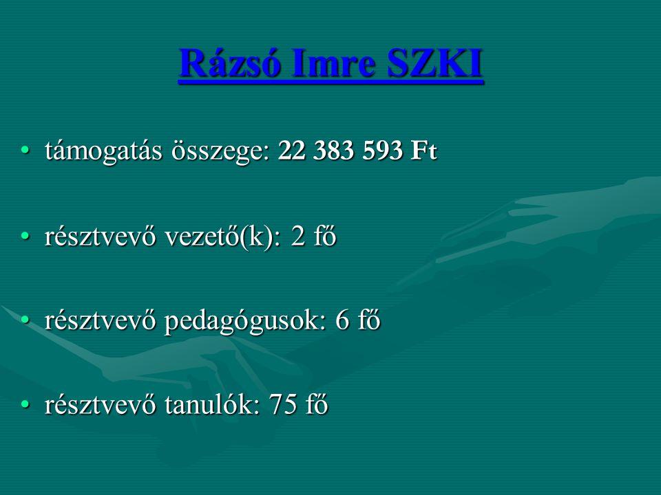 Rázsó Imre SZKI támogatás összege: 22 383 593 Fttámogatás összege: 22 383 593 Ft résztvevő vezető(k): 2 főrésztvevő vezető(k): 2 fő résztvevő pedagógu