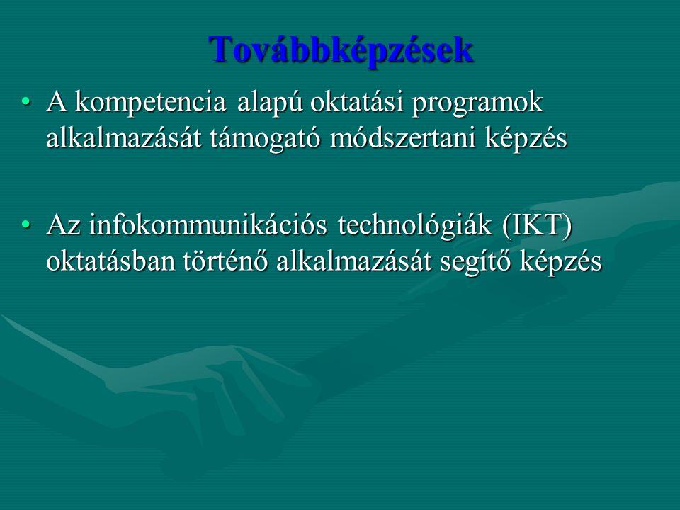 Továbbképzések A kompetencia alapú oktatási programok alkalmazását támogató módszertani képzésA kompetencia alapú oktatási programok alkalmazását támo