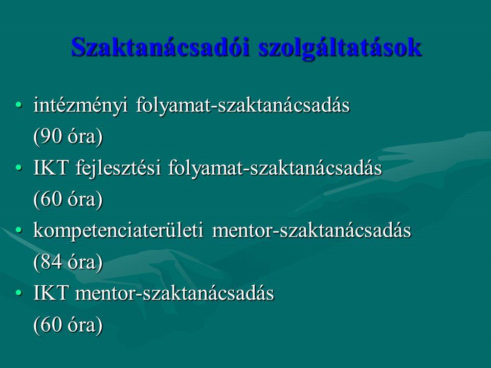 Szaktanácsadói szolgáltatások intézményi folyamat-szaktanácsadásintézményi folyamat-szaktanácsadás (90 óra) IKT fejlesztési folyamat-szaktanácsadásIKT