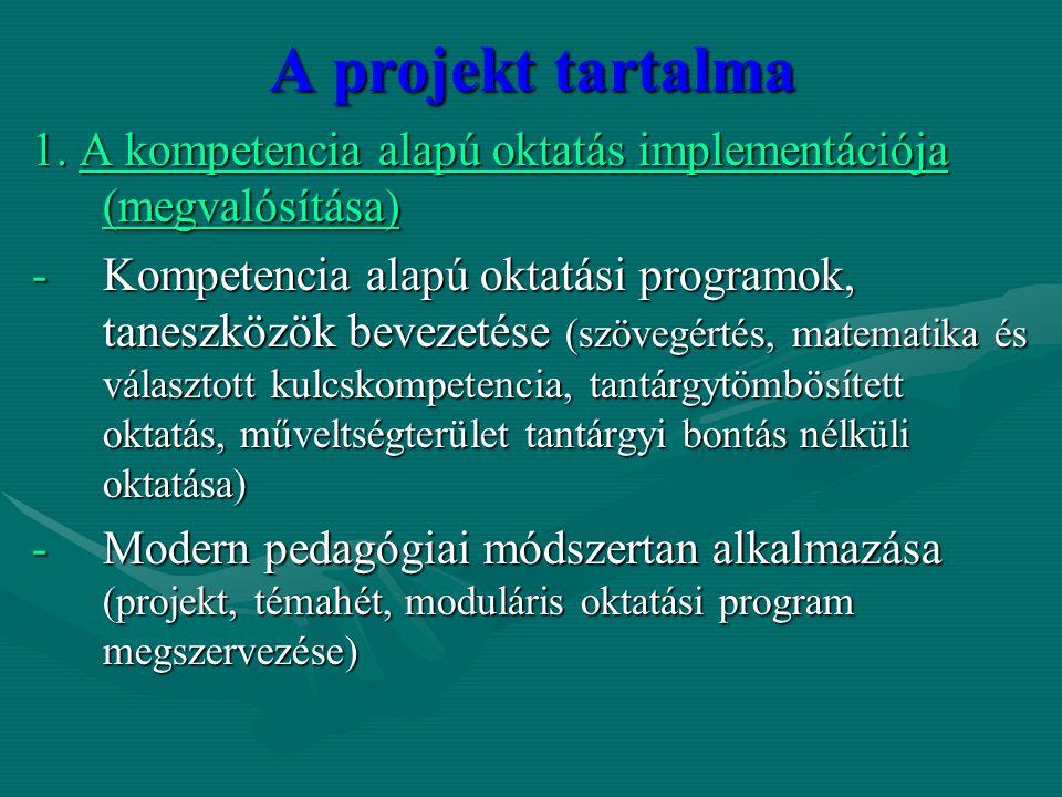 A projekt tartalma 1. A kompetencia alapú oktatás implementációja (megvalósítása) -Kompetencia alapú oktatási programok, taneszközök bevezetése (szöve