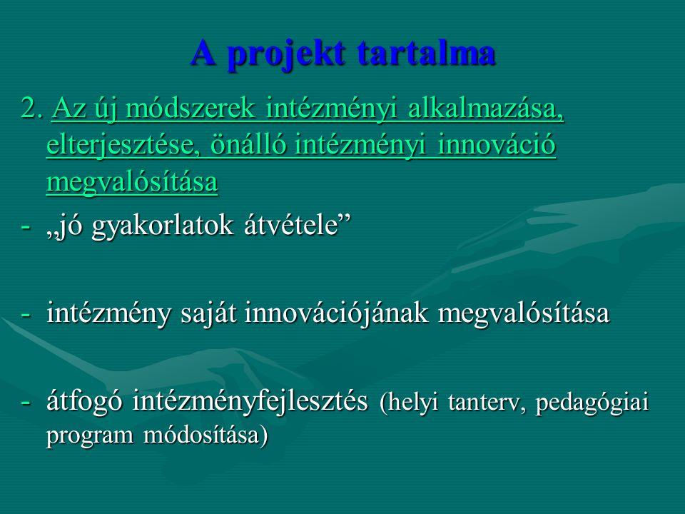 """A projekt tartalma 2. Az új módszerek intézményi alkalmazása, elterjesztése, önálló intézményi innováció megvalósítása -""""jó gyakorlatok átvétele"""" -int"""