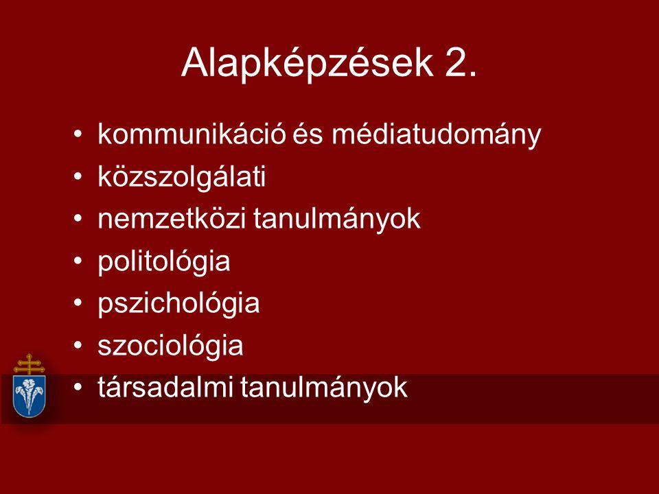 Alapképzések 2. kommunikáció és médiatudomány közszolgálati nemzetközi tanulmányok politológia pszichológia szociológia társadalmi tanulmányok