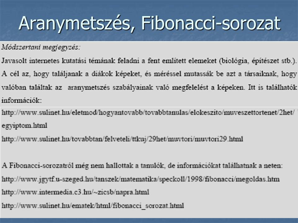 Aranymetszés, Fibonacci-sorozat