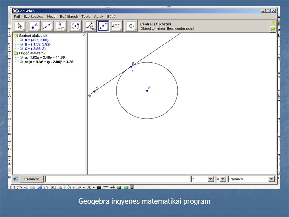 Geogebra ingyenes matematikai program