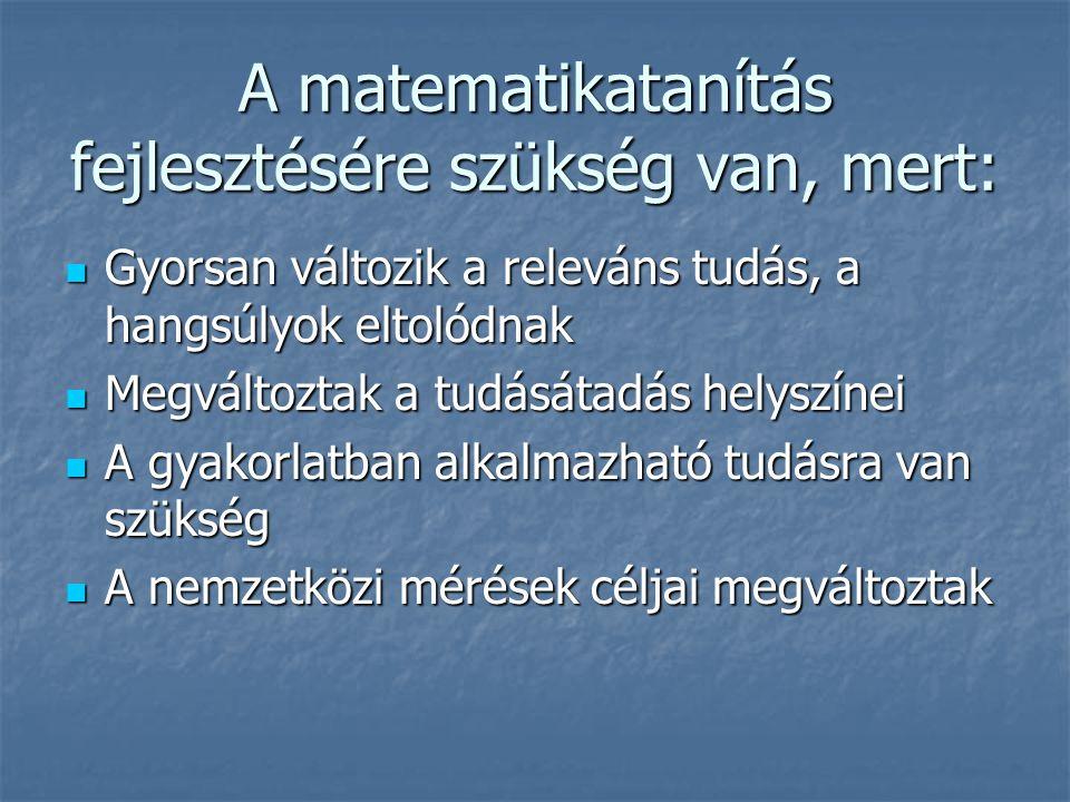 A matematikatanítás fejlesztésére szükség van, mert: Gyorsan változik a releváns tudás, a hangsúlyok eltolódnak Gyorsan változik a releváns tudás, a h