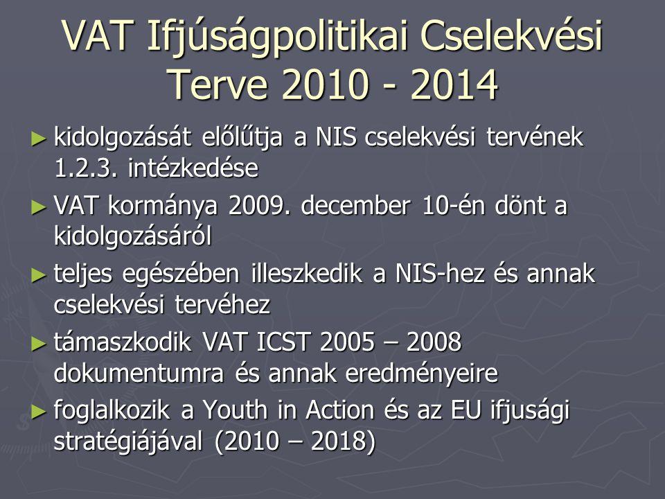 VAT Ifjúságpolitikai Cselekvési Terve 2010 - 2014 ► kidolgozását előlűtja a NIS cselekvési tervének 1.2.3.