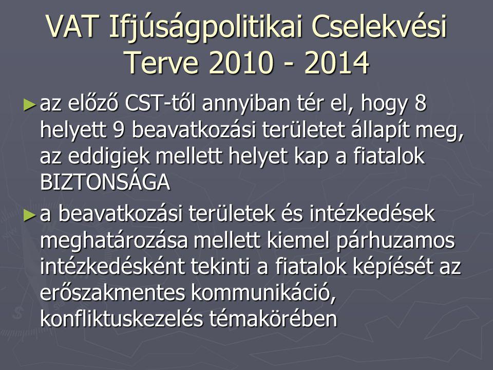 VAT Ifjúságpolitikai Cselekvési Terve 2010 - 2014 ► az előző CST-től annyiban tér el, hogy 8 helyett 9 beavatkozási területet állapít meg, az eddigiek mellett helyet kap a fiatalok BIZTONSÁGA ► a beavatkozási területek és intézkedések meghatározása mellett kiemel párhuzamos intézkedésként tekinti a fiatalok képíését az erőszakmentes kommunikáció, konfliktuskezelés témakörében