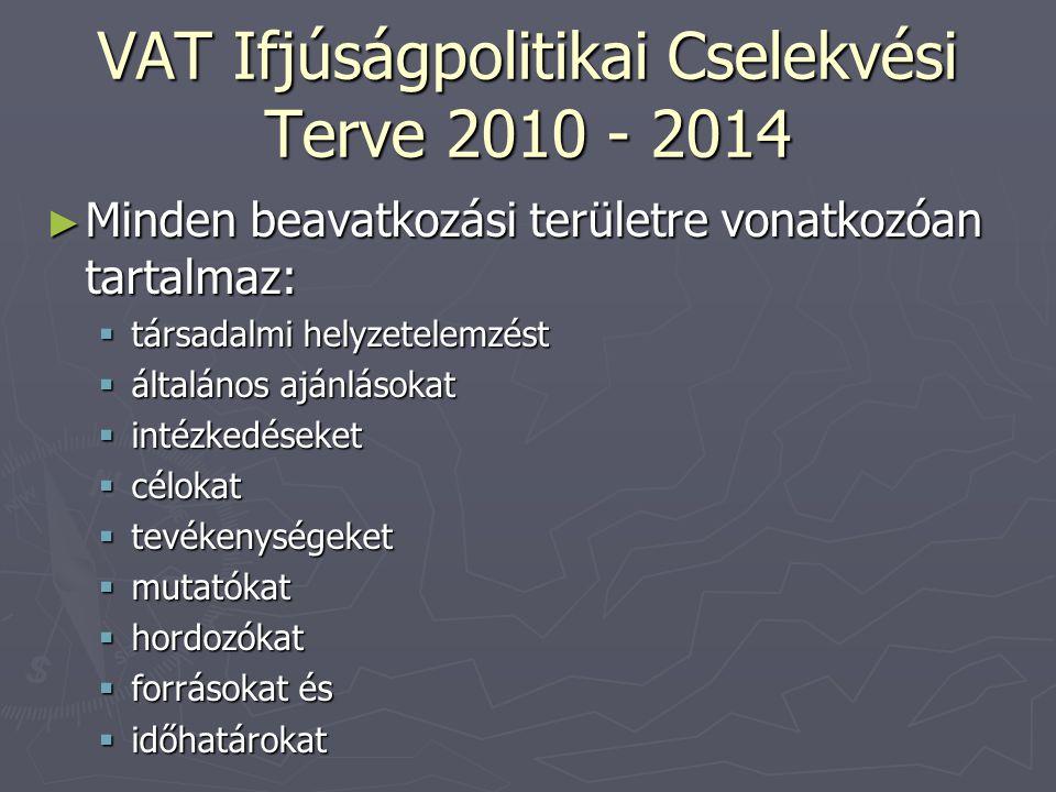 VAT Ifjúságpolitikai Cselekvési Terve 2010 - 2014 ► Minden beavatkozási területre vonatkozóan tartalmaz:  társadalmi helyzetelemzést  általános ajánlásokat  intézkedéseket  célokat  tevékenységeket  mutatókat  hordozókat  forrásokat és  időhatárokat